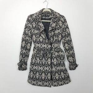 Kenneth Cole | Belted Ikat Coat Black and Taupe